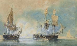 French frigate Réunion (1786) - H.M.S. Crescent, under the command of Captain James Saumarez, capturing the French frigate Réunion off Cherbourg, 20 October 1793, att. John Christian Schetky