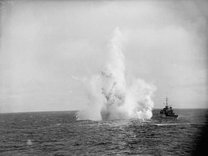 Frederic John Walker - HMS Kite of Escort 2 conducting a depth charge attack.