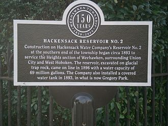 Hackensack Water Company Complex - Historical marker at Palisade and Highpoint