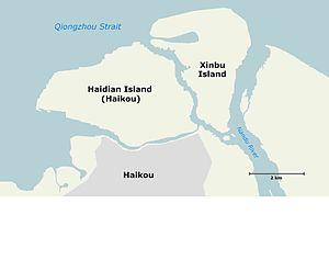 Haidian Island - Image: Haidian Dao, Haikou, Hainan map 01 lq