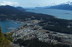 Haines, viewed from Mount Ripinsky, with Chilkoot Inlet on the left, Chilkat Inlet on the right, and the Chilkat Peninsula extending into the distance