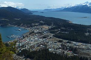 Haines, Alaska - Haines, viewed from Mount Ripinsky, with Chilkoot Inlet on the left, Chilkat Inlet on the right, and the Chilkat Peninsula extending into the distance