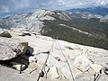 Half Dome cables, from the top looking east at Cloud's Rest and the Pinnacles. - panoramio.jpg