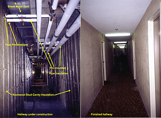 Hall - Hallway during and after construction in an apartment building in Mississauga, Ontario, Canada