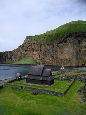 Haltdalen Stave Church - Image: Haltdalen stave church replica vestmannaeyjar outside 2