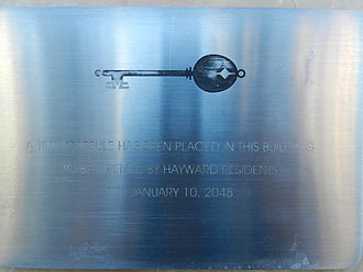 Hayward City Hall - plaque commemorating the time capsule at City Hall