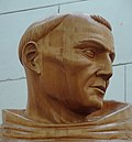 Head from wooden replica of Father Serra statue