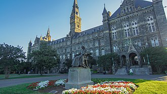 Bishop John Carroll (statue) - Statue centered in Healy Circle