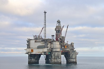 Oil production has been central to the Norwegian economy since the 1970s, with a dominating state ownership (Heidrun oil field) Heidrun, Norskehavet (28276260560).jpg