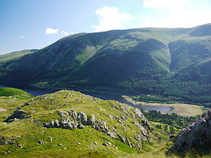 Helvellyn - The western side of Helvellyn: Helvellyn Screes and Whelp Side seen over Thirlmere from the Wythburn Fells