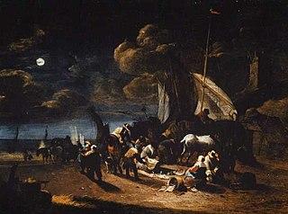 Vissers op het strand bij nacht