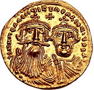 Heraclius - Heraclius in 629-632 (aged 54-57), with his son Constantine.