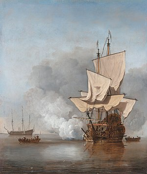Man-of-war - A Dutch man-of-war firing a salute. The Cannon Shot, painting by Willem van de Velde the Younger.