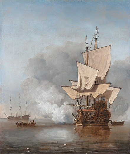 The Cannon Shot, 1707, by Willem van de Velde the Younger depicts an early 18th-century Dutch man-of-war. Het Kanonschot - Canon fired (Willem van de Velde II, 1707).jpg