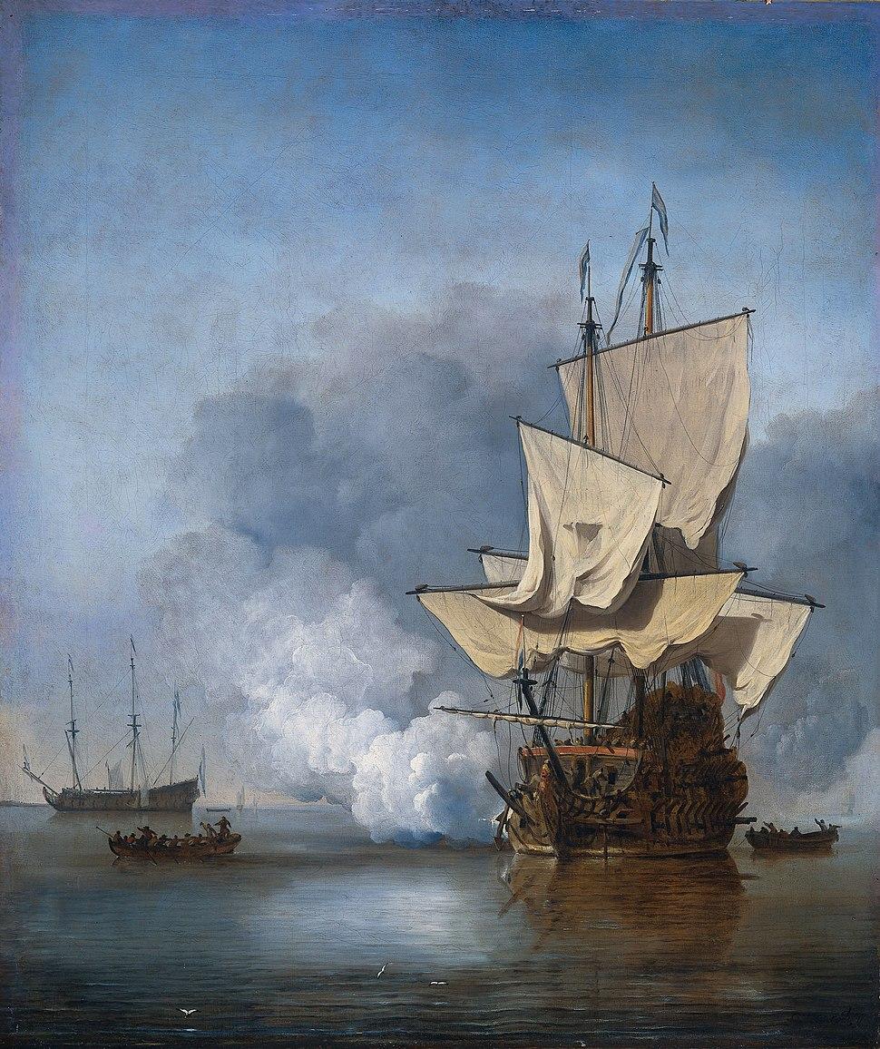 Het Kanonschot - Canon fired (Willem van de Velde II, 1707)