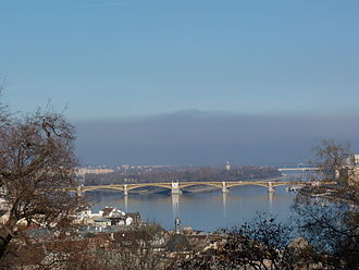 Inversion (meteorology) - A temperature inversion in Budapest, Hungary viewing Margaret Island – 2013