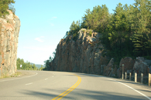 Highway 17 Divides Mountains On Its Journey Along The North Shore Of Lake Superior