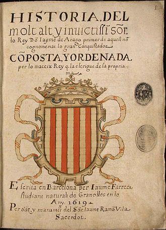 Llibre dels fets - 1619 Frontispiece of Catalan manuscript made by Jaume Ferrera