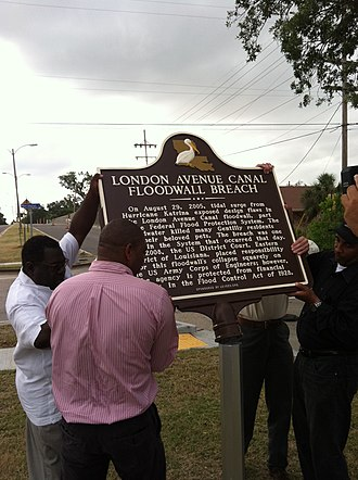 London Avenue Canal - Louisiana State Historic Plaque installed May 19, 2011. Vetted and fact checked by the Louisiana Office of Historic Preservation.
