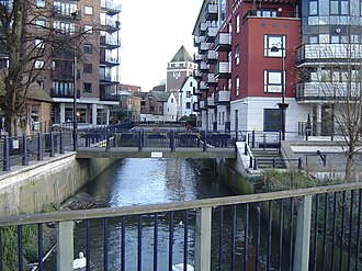 Hogsmill River - The Hogsmill at Kingston as it flows into the Thames