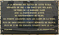 Holocaust memorial tablet, Paris 06, Rue Madame.jpg
