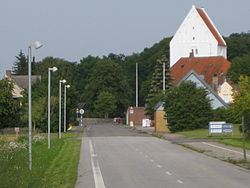 Horslunde with a view of its church