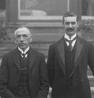 Neville Chamberlain - Chamberlain as Lord Mayor of Birmingham in May 1916, alongside Prime Minister Billy Hughes of Australia.