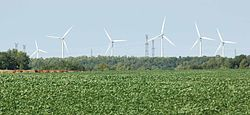 Huron Wind farm in Tiverton, Ontario, Canada, includes five Vestas V80s installed in November 2002