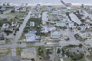 Hurricane Arthur - Flooding at Rodanthe Pier on Hatteras Island following the passage of Hurricane Arthur.