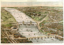 Perspective view of a wide river running through a green city, from upper left to lower right. Three bridges cross the river, which contains many small boats.