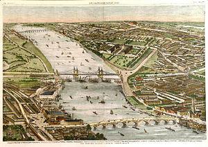 Chelsea Bridge - Battersea (top), Victoria (centre) and Vauxhall (bottom) bridges, 1859