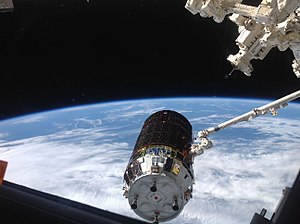 "ArduSat - Aug. 9, 2013 - The International Space Station's Canadarm2 grapples the unpiloted Japanese ""Kounotori"" H2 Transfer Vehicle-4 (HTV-4) as it approaches the station, carrying ArduSat-1 and ArduSat-X among 3.6 tons of science experiments."
