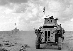 Marmon-Herrington Armoured Car - Marmon-Herrington armoured cars on patrol in the Western Desert, 28 November 1941.