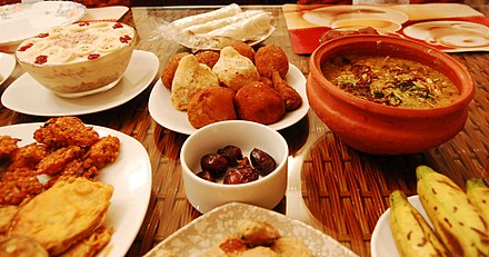 A fast-breaking feast, known as Iftar, is served traditionally with dates Iftar for Ramadhan.jpg