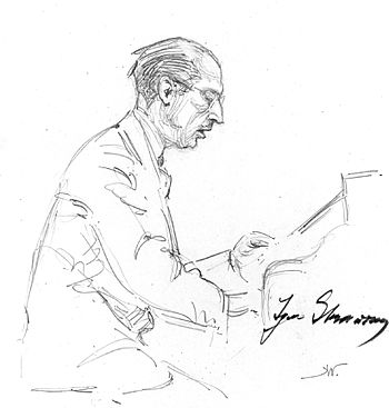 English: Igor Stravinsky playing the Capriccio...