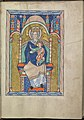 Images from the life of Christ - Mary enthroned, holding the Christ-child from the adoration of the Christ-child by the Magi - Psalter of Eleanor of Aquitaine (ca. 1185) - KB 76 F 13, folium 018r.jpg