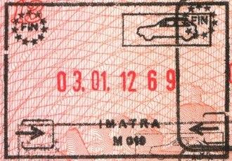 Imatra - Image: Imatra passport entry stamp