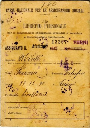 Health in Italy - An old social insurance card (dated 1921) belonging to the Istituto Nazionale della Previdenza Sociale, which makes sure that workers are not injured from work, and if they are, that they are insured.