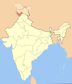 Map of Jammu division within Indian Kashmir, disputed territory