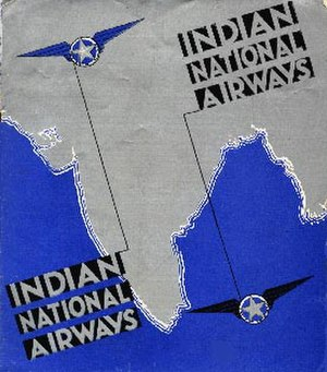 Indian National Airways Ltd - Time Table cover of Indian National Airways c.1933