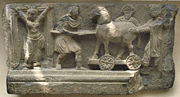 Depiction of the Trojan horse in the art of Gandhara, India. 2nd-3rd century CE. British Museum.