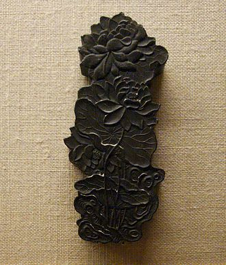 Ink - Chinese inkstick; carbon-based and made from soot and animal glue.
