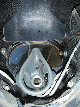 Diver communications - Inside a Kirby Morgan 37 helmet showing the microphone in the oro-nasal mask, and one of the speakers at the top of the photo.