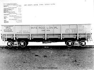 Intercolonial Railway - Steel Intercolonial self-dumping car in Nova Scotia, circa 1916.