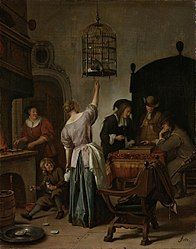 Jan Steen: Interior with a Woman Feeding a Parrot, Known as 'The Parrot Cage'