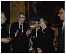 Gianni De Michelis (utilmo a destra), con Nilde Iotti, John Major e Giulio Andreotti all'incontro a Roma per la Comunità europea il 14 dicembre 1990