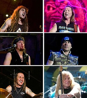 Iron Maiden - Top: Steve Harris (L), Dave Murray (R)   Middle: Adrian Smith (L), Bruce Dickinson (R)   Bottom: Nicko McBrain (L), Janick Gers (R)