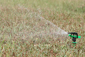 An impact sprinkler watering a lawn, an example of a hose-end sprinkler Irrigational sprinkler.jpg