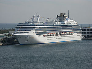 Cruise ship Island Princess moored in Port Eve...