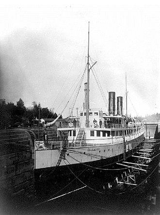 Esquimalt Royal Navy Dockyard - Image: Islander (steamship) in Esquimalt BC drydock 1890s